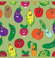 funny vegetables seamless pattern vector image
