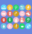 ecology saving themed round colorful icons vector image