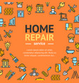 home repair round design template line icon vector image
