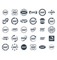 360 degrees icon set rotate arrow vr reality vector image
