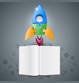 3d realistic rocket and book icon vector image vector image
