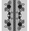 Abstract seamless black lace ribbon with floral vector image vector image