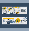 air drones shop banner quadrocopters and remote vector image