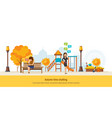 autumn time autumn city park girl resting in vector image vector image