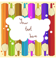 Background with pencils and cloud for text vector image
