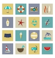 Beach vacation and travel flat icons set with vector image