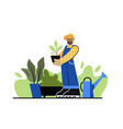 bearded man holds plant in his hands in garden vector image