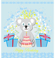 birthday card sweet teddy bear holding a birthday vector image