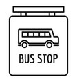 bus stop station sign icon outline style vector image vector image