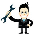 businessman holding a wrench vector image vector image