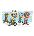cartoon girl and boy characters riding on bicycle vector image vector image