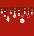 christmas hanging ornaments with shadow on red vector image vector image