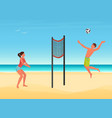 couple people play volleyball on summer sea beach vector image