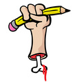 cut hand with bone holding a pencil vector image vector image