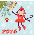 Cute card with cute funny monkey character - vector image vector image