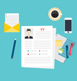 CV resume Job interview concept Writing a resume vector image vector image