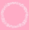 decorative circle frame of white outline flowers vector image vector image