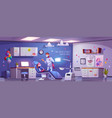 dental room for kids with girl in chair and doctor vector image vector image