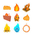 fire icon set cartoon style vector image