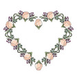 frame of rose flower beautiful in shape heart vector image vector image