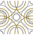 gold and silver chain flat seamless pattern vector image vector image