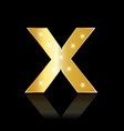 golden letter x shiny symbol vector image vector image