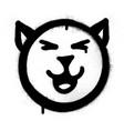 graffiti smiling cat icon sprayed in black vector image vector image