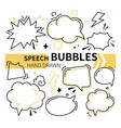 hand drawn speech bubbles collection - set of vector image vector image
