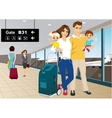 happy couple with children in an airport vector image vector image