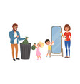 happy parents and kids doing housework together vector image vector image