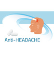 Headache relief medicine Medication packing design vector image