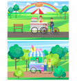 hot dog and ice cream street carts in green park vector image