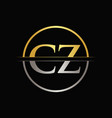 initial gold and silver color cz letter logo vector image vector image
