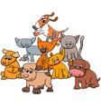 kitten and puppies group cartoon vector image