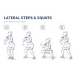 lateral walk and squats with resistance band girl vector image vector image