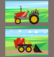 loader and tractor on field vector image