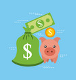 piggy banknote coin currency bank safety vector image vector image
