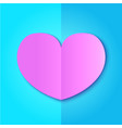 pink paper heart on blue background vector image vector image