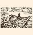 sailboat sketch swim in a storm on big vector image vector image