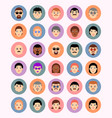 set faces in circles avatars icons people of vector image