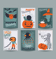 set six halloween posters or greeting card vector image
