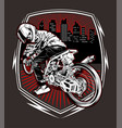 skull motorcycle racing hand drawing vector image vector image