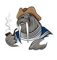 Smoking Walrus vector image vector image
