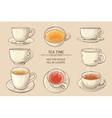 tea cups set vector image vector image