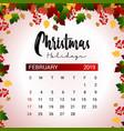 2019 february calendar design template of vector image