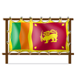 A wooden frame with the flag of SriLanka vector image vector image