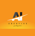 ai a i letter modern logo design with yellow vector image