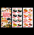 asian sushi food japanese rolls price menu vector image vector image