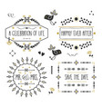 black and golden wedding message banners set vector image