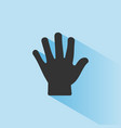 body senses tact hand icon with shade on blue vector image vector image